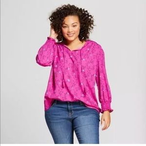 Ava and Vic pink bird print top size 1X